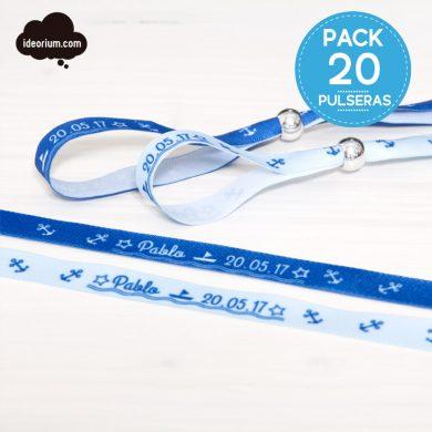 Pulseras personalizadas regalo primera comunión niño - PACK 20