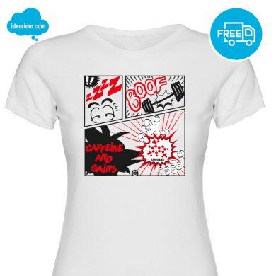 ideorium-camiseta-caffeine-and-gains-blanca