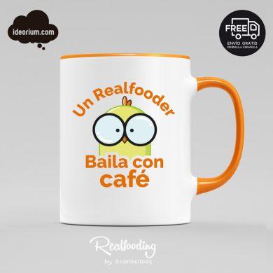 Taza un Realfooder baila con café color naranja