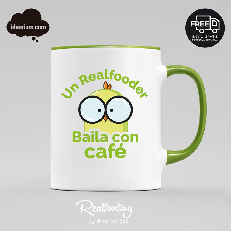 Taza un Realfooder baila con café color verde